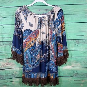 Lilypad Paisley and suede Fringe dress